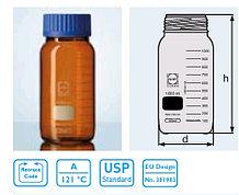 Бутыль для химреактивов с пластмассовой завинчивающейся крышкой d-80 мм, со шкалой (1000 мл) с пластик.покрытием (Duran)