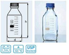 Бутыль стеклянная квадратная с завинчивающейся крышкой d-45 мм, со шкалой (1000 мл) (Duran)