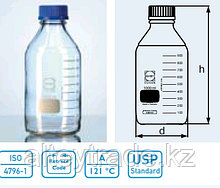 Бутыль для химреактивов с пластмассовой завинчивающейся крышкой d-45 мм, со шкалой (1000 мл) Premium, ТС (Duran)