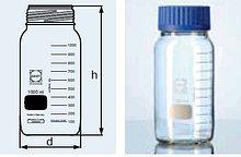 Бутыль для химреактивов с пластмассовой завинчивающейся крышкой d-80 мм, со шкалой (2000 мл) (Duran)