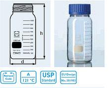Бутыль для химреактивов с пластмассовой завинчивающейся крышкой d-80 мм, со шкалой (2000 мл) с пластик.покрытием (Duran)