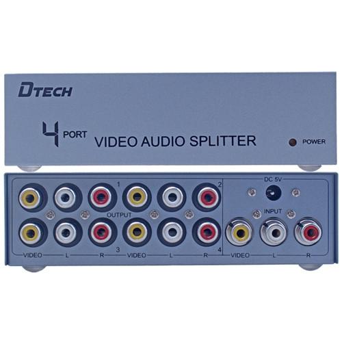 3RCA Splitter на 4 порта (1 3RCA вход на 4 3RCA выхода) Dtech DT-7204