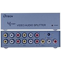 3RCA Splitter на 4 порта (1 3RCA вход на 4 3RCA выхода) Dtech DT-7204, фото 1