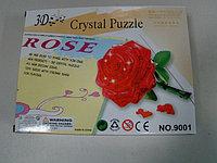 Пазл 3D кристаллический Роза красная, 44 детали