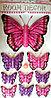 """Наклейки """"Бабочки"""" 3D розово-фиолетовые"""