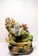 """Интерьерный фонтан-водопад """"Птичка с лягушкой"""""""