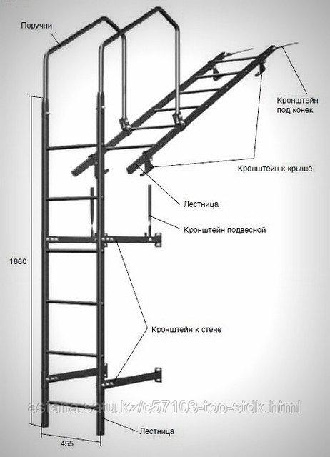 Лестница кровельная, стеновая (дл. 1860 мм) без кронштейнов