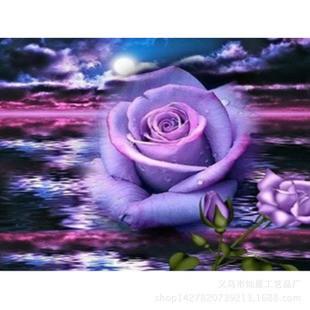 """Картины стразами """"Фиолетовое море и розы"""" 40*50"""