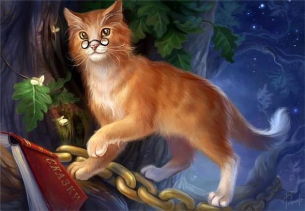 """Картины стразами """"У Лукоморья кот ученый"""" 40*50"""