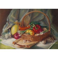 """Картины стразами """"Корзина с овощами"""" 30*40"""