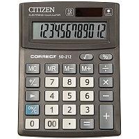 Калькулятор настольный Correct SD 12 разрядов, двойное питание, 103*138*24 мм, черный