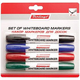 Набор маркеров для досок 4цв., 2мм, пулевидный, европодвес