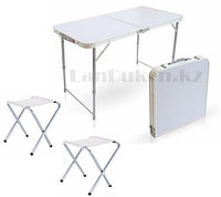"""Раскладной стол и стулья для пикника в чемодане FOLDING TABLE """"90* 60* 70 см"""" (туристический столик) светлый"""