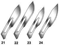 Скальпеля хирургические одноразовые №10, №11, №12, №12B, №13, №14, №15, №15C, №16, №18, №19, №20, №21, №22, №2