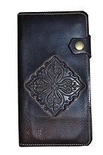 Портмоне из натуральной кожи с теснением казахского национального орнамента