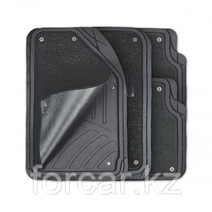 Комплект салонных ковриков Focus-2 с отстёгивающимся ковролином черн/сер, фото 2