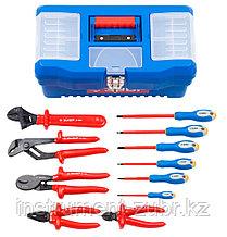 Набор: Губцевый инструмент, диэлектрический, высоковольтный до ~1000В, маслобензостойкая рукоятка, 12предм, ЗУБР Профессионал 2214-H12