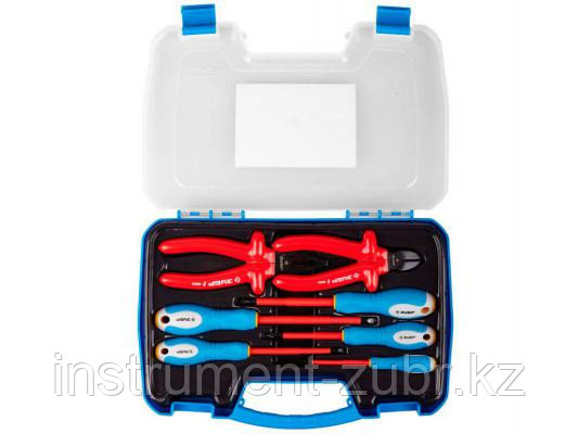 Набор: Губцевый инструмент, диэлектрический, высоковольтный до ~1000В, маслобензостойкая рукоятка, 7предм, ЗУБР Профессионал 2214-H7, фото 2