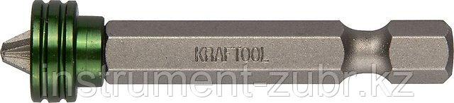 """Биты """"ЕХPERT"""", с магнитным держателем-ограничителем, KRAFTOOL 26129-2-50-1, тип хвостовика E 1/4"""", PZ2, 50 мм, 1 шт. в блистере"""