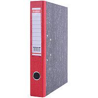 Папка-регистратор 50мм, мрамор, с карманом на корешке, нижний метал. кант, красная