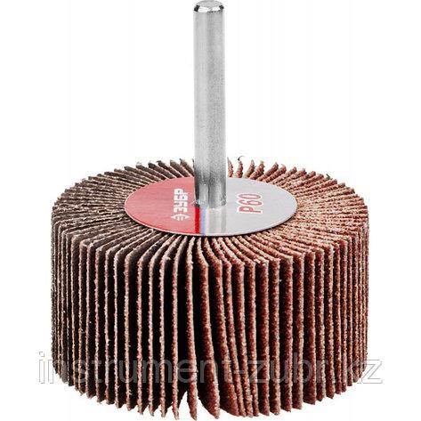 """Круг шлифовальный ЗУБР """"МАСТЕР"""" веерный лепестковый, на шпильке, тип КЛО, зерно-электрокорунд нормальный, P60, 30х60мм                                , фото 2"""