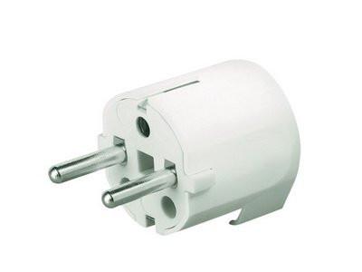 Вилка кабельная, бытовая с боковым вводом кабеля. Белая. IP20 16А 2P+E 230В