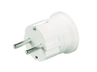 Вилка кабельная, бытовая с центральным вводом кабеля. Белая. IP20 16А 2P+E 230В