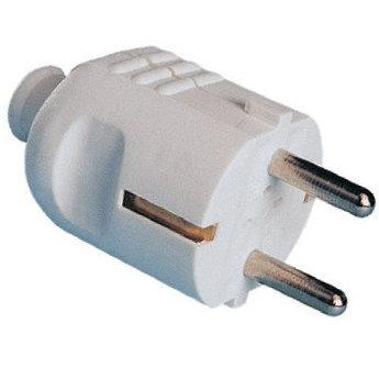 Вилка кабельная, бытовая с центральным вводом кабеля. Черная. IP20 16А 2P+E 230В