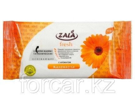 Салфетки влажные гигиенические ZALA «FRESH» освежающие с ароматом «Календула» 12 шт, фото 2