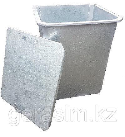 Оцинкованный мусорный контейнер 0,75 куб. с крышкой без колес