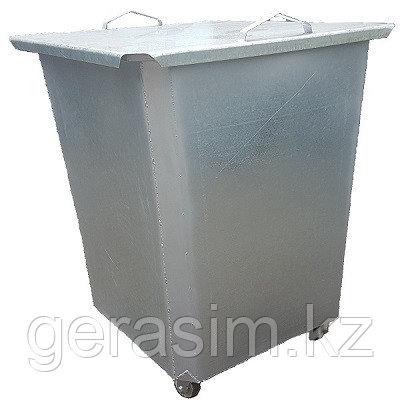 Оцинкованный нержавеющий мусорный контейнер 0,75 куб (с крышкой на колесах)