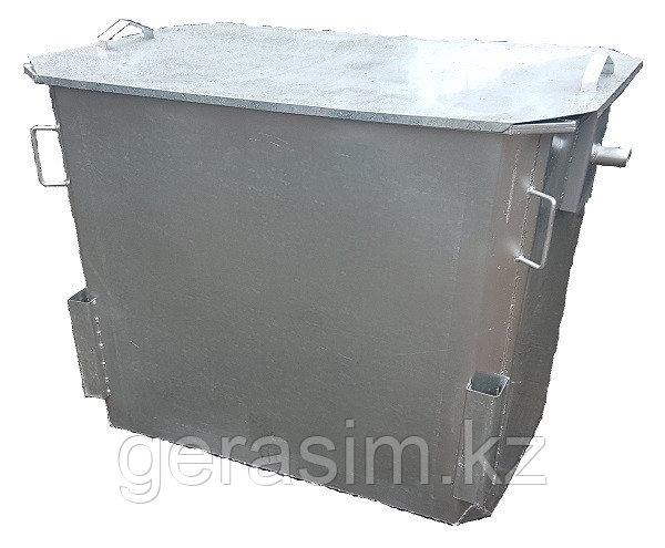 Оцинкованный контейнер 1,1 куб. с крышкой, без колес