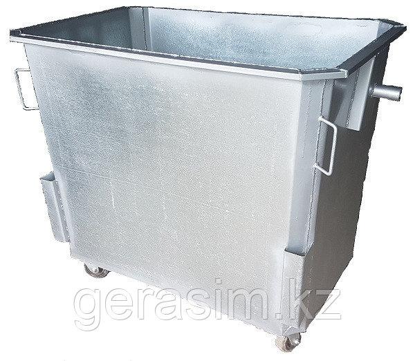 Оцинкованный контейнер 1100 л без крышки с колесами