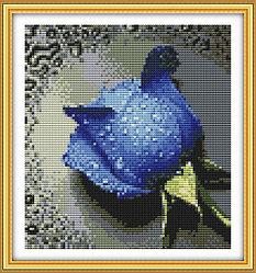 """Картины стразами """"Голубая роза"""" 22Х24 см"""