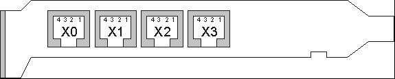 Расположение и нумерация контактов разъемов RJ11 на платах «Ольха-10L»