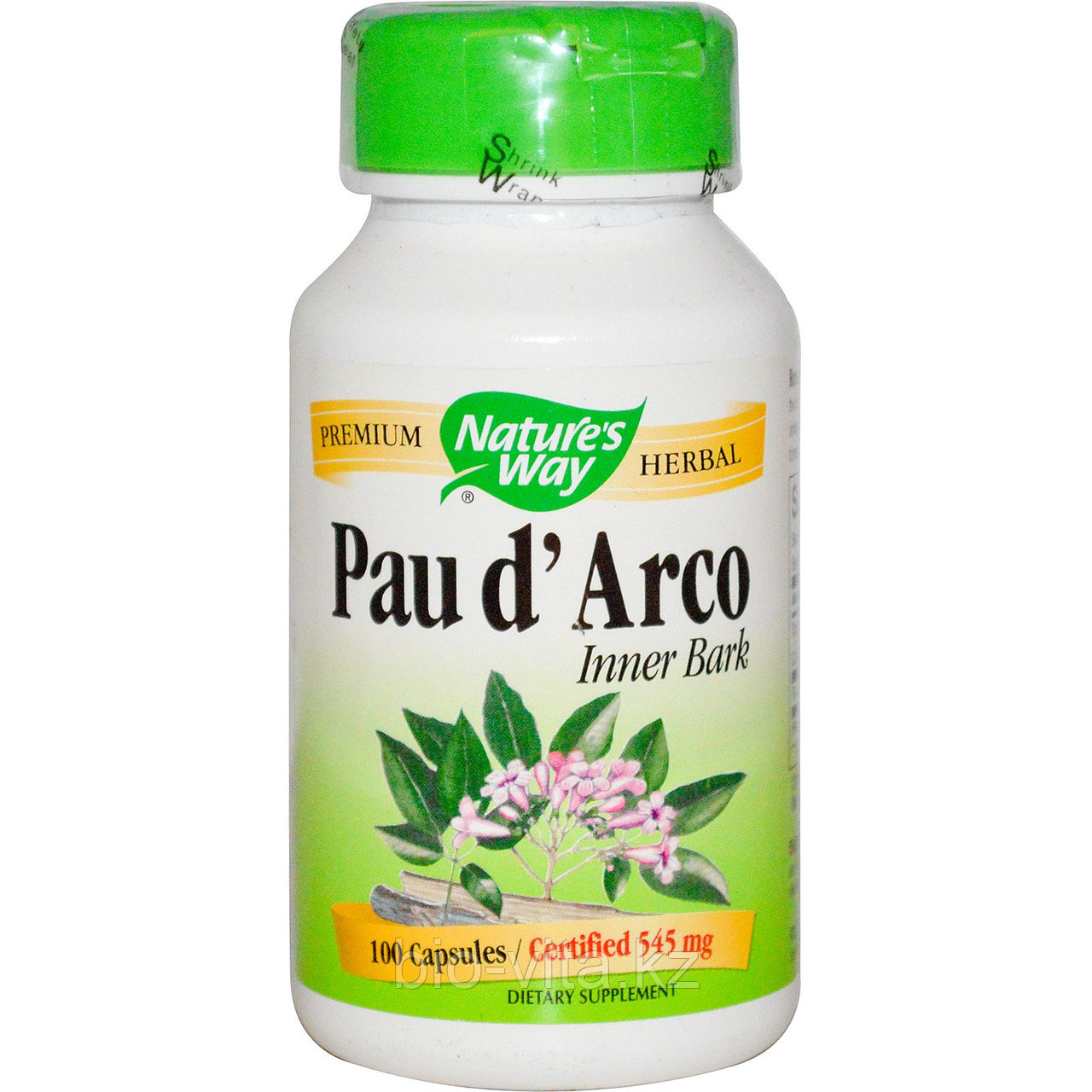 Кора муравьиного дерева.(Pau d'Arco )  Nature's Way, Внутренний луб  545 мг, 100 капсул