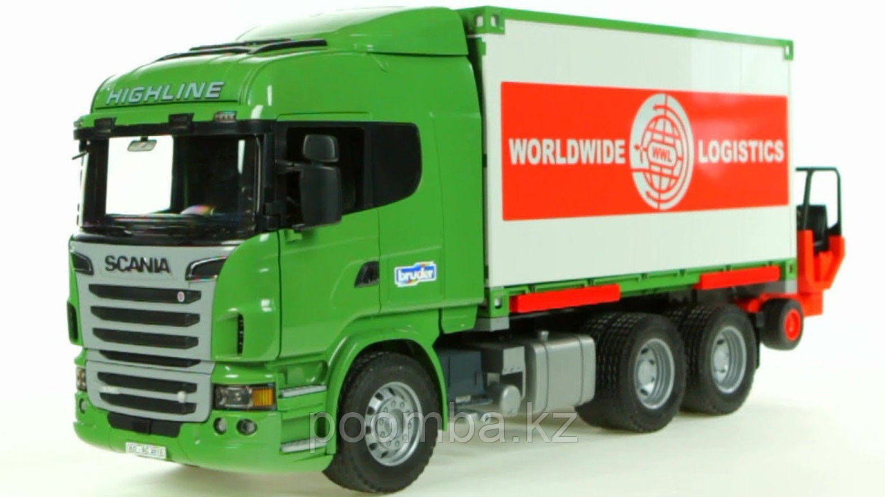 Фургон Scania с погрузчиком и паллетами, 1:16