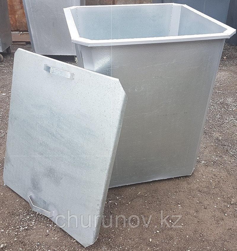 Оцинкованный мусорный контейнер 0,75 куб.с крышкой (НДС 12% в т.ч.)