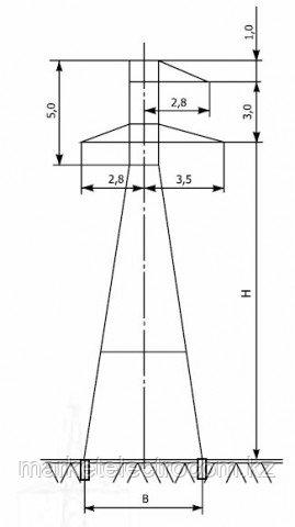 Анкерно-угловые опоры напряжением 35 кВ типа У35