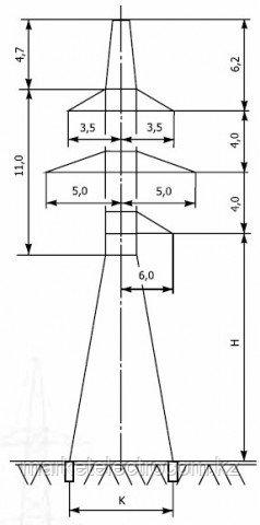 Анкерно-угловые свободностоящие опоры напряжением 110 кВ типа УС 110