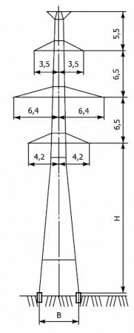 Промежуточные опоры напряжением 220 кВ типа П220