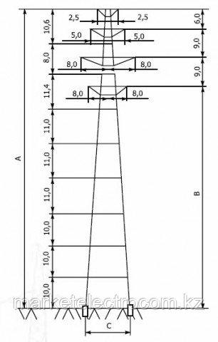 Переходные опоры напряжением 220-330 кВ типа ПП 220, ПП 330