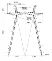 Промежуточные опоры напряжением 500 кВ типа ПБ и ПП 500