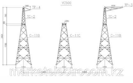 Угловые опоры напряжением 500 кВ типа УС и УС К