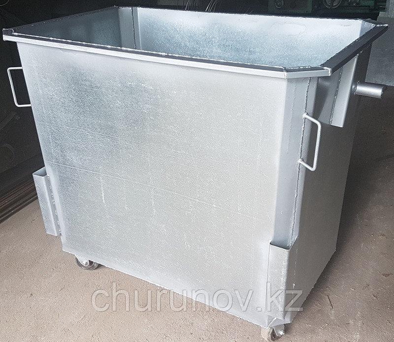 Оцинкованный мусорный контейнер 1,1 куб. на колесах (НДС 12% в т.ч.)