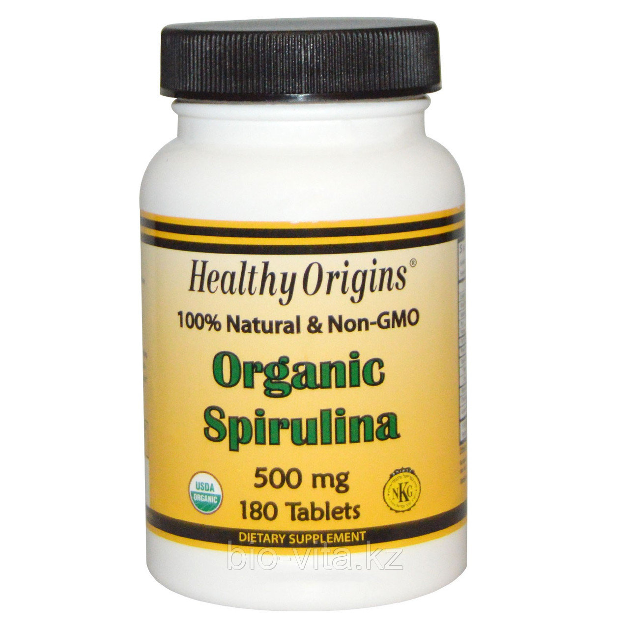 Спирулина. Healthy Origins, Органическая спирулина, 500 мг, 180 таблеток. Без ГМО.
