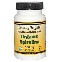 Спирулина. Healthy Origins, Органическая спирулина, 500 мг, 180 таблеток. Без ГМО., фото 1