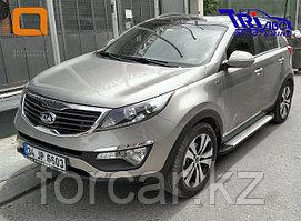 Пороги алюминиевые (Integral) Kia Sportage (2010-2014), комплект 2шт.