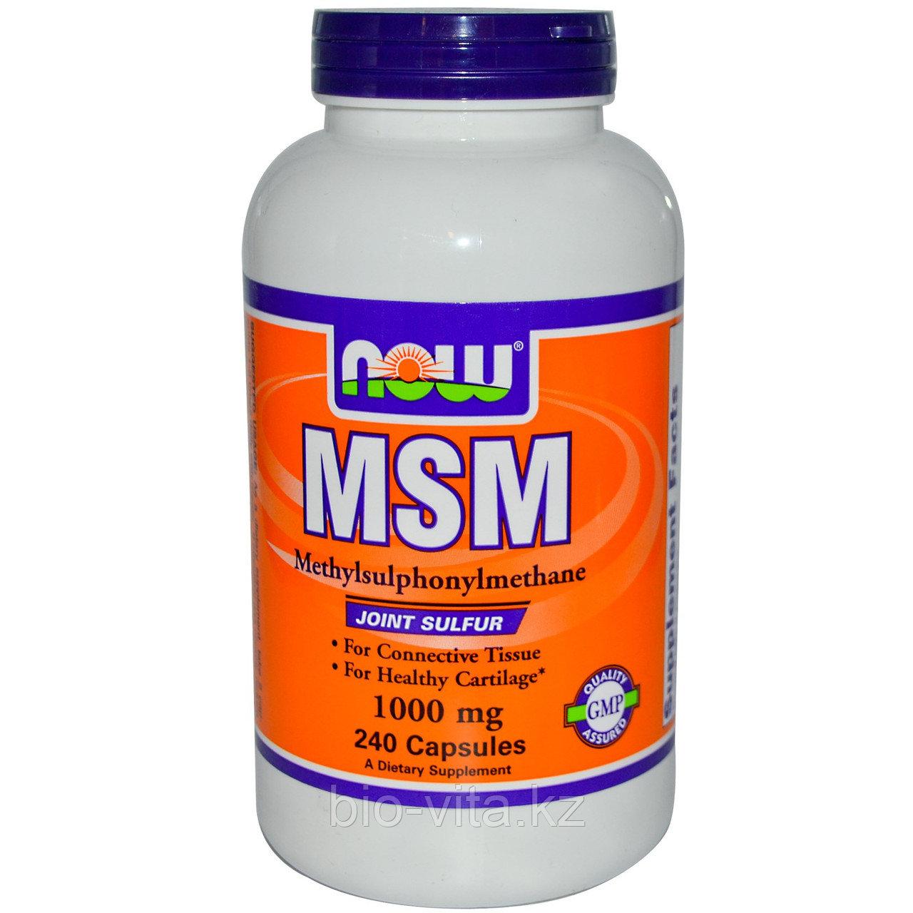 МСМ. (MSM).Сера. Now Foods, Метилсульфонилметан, 1000 мг, 240 капсул