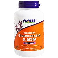 Глюкозамин и метилсульфонилметан(МСМ), вегетарианский, 120 капсул на растительной основе. Now Foods